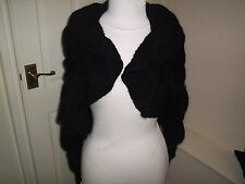 H&M BLACK WARM WOOL/MOHAIR BLEND SHRUG SIZE SMALL