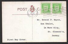 13073 - Dt. Bes. 2. WK, Kanalinseln - Jersey, Mi.-Nr. 1 (2), auf Karte als FDC.