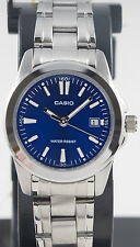Casio LTP-1215A-2A2 Ladies Blue Dress Date Watch Steel Band Analogue Brand New