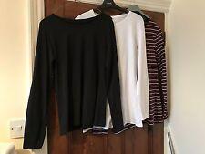 3 x Primark Long Sleeved Tops - 1 Black / 1 White / 1 Burgundy - Size 14