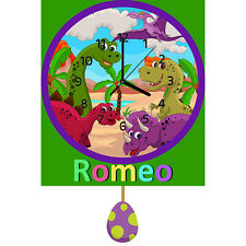 Childrens Kids Dinosaurs Personalised Clock with Pendulum Gift Any Name