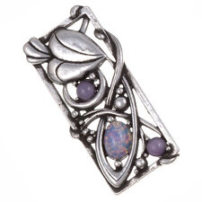 Miracle Pewter Mackintosh Style Opal Cabochon Leaf Rectangle Brooch UK Made