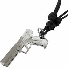 Pistol Gun Pendant Chain Necklace Mens Kids Boys Children Mans Toy Silver Colour