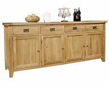 Provence solid oak furniture extra large four door four drawer sideboard