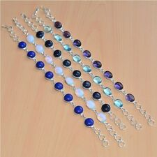 WHOLESALE LOT 5PC 925 SILVER PLATED AMETHYST & MIX STONE BRACELET JEWELRY