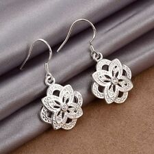 Women Lady Charm Jewelry 925 Sterling Silver Plated Flower Dangle Hook Earrings