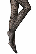 NEW WOMENS LADIES BLACK FLORAL PATTERN TIGHTS 40 DENIER One size 8-14 P17