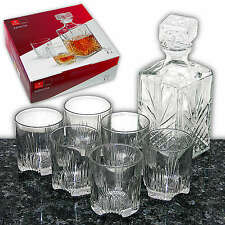 Whiskey Set 1L Whisky Dekanter + 6x Whiskyglas, Whiskyset Whiskygläser, Glas Neu
