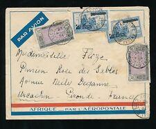 FRENCH IVORY COAST 1934 AIRMAIL DAKAR in BLUE ..AFRIQUE AERO ENVELOPE ADZOPE