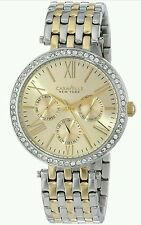 Caravelle New York Ladies Two-Tone Stainless Steel Strap Multi Gold Dial Watch