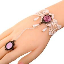 1 Set Endearing White Lace Pink Flower Ring Bracelet Jewelry Women Chic