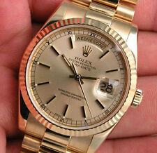 Mens 18K Yellow Gold Rolex DAY DATE 118238 President Champagne Index Dial 36MM