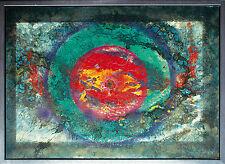 Jozsef Toth *1944 Roter Planet grüne Aureole, Öl-Lackgemälde 70 x 98 cm um 1998