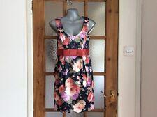 Miss Selfridge black floral mix mini dress size 8