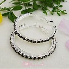 Black Diamonte / Diamante 1 Row Hoop Earrings 3cm - NEW!!!