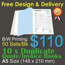 10 x A5 Customised Printed Duplicate QUOTE / Tax INVOICE Books +Free Design&Post