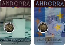 Andorra 2015 - 2x ORIGINAL 2 Euro GM in Coin Card - Volljährigkeit + Zollunion