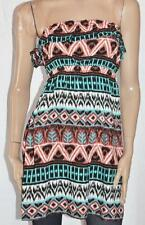 ICE Designer Multi Print Strapless Day Dress Size L BNWT [si30]