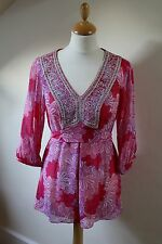Gorgeous Monsoon chiffon tunic top, pink purple floral, embroidered, 10
