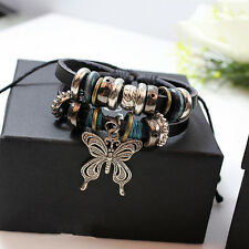 Vintage Leather Butterfly Infinity Bracelet Charm Silver lots Beads Jewelry Gift
