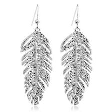 Genuine 18K White Gold Plated Swarovski Element Crystal Feather Earrings