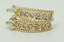 Vintage 18k Yellow Gold 1.02 CT Genuine Round and Baguette Diamond Earrings