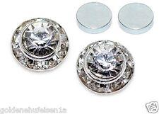 MAGNET Kristall Ohrstecker Ohrringe Clips 9mm Silber Magnetschmuck Geschenkidee