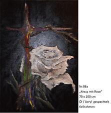 (086a)   Kreuz mit Rose   Öl / Acryl / Spachtel Leinwand ca.70 x 100 cm Keilr.