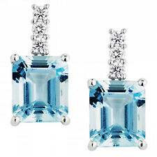 3.00Ct Emerald Aquamarine and Round Diamond Earring Crafted in 18k White Gold  .