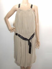 BROWN ORIGAMI STYLE DRESS WITH PLEATING & BLACK BELT SIZE L / 14 - MISS TEN