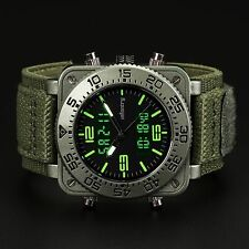 INFANTRY MENS DIGITAL QUARTZ WRIST WATCH CHRONOGRAPH TACTICAL ARMY GREEN CANVAS