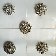 wholesale joblot 5x assorted sparkly silver diamante brooches bouquet,no 2