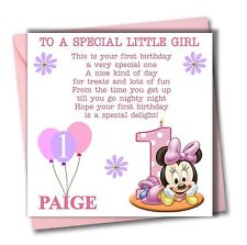 Personalised Minnie Girl Daughter Granddaughter Babies First 1st Birthday Card