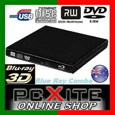 USB External Portable Blu-Ray Combo Player DVD CD RW Burner ReWriter Drive 3D W