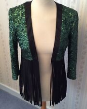 Ladies New Nissa Green Sequin Jacket With Fringes - Size M