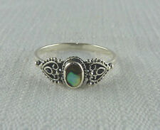 Abalone/Paua Shell Inlay 925 Sterling Silver Victorian Style Ring