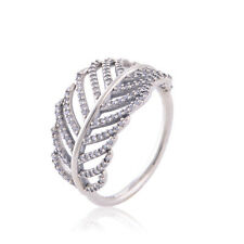 PAVE LEAF/FEATHER 925 Solid Sterling Silver Cubic Zirconia Dress Ring Band Size6