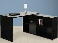 Large Corner Writing Desk Office Drawer & Shelves PC Desktop Laptop Black Table