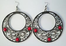 Large Silver tone Drop Earrings in with Deep Red Beads Approx 7cm on Hooks