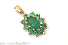 9ct Gold Emerald Pendant no chain Made in UK Gift Boxed
