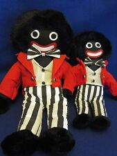 """Stuffed Rag Dolls Father Son~Matching Outfits Felt Eyes & Mouth~23"""" & 16.5""""ht"""