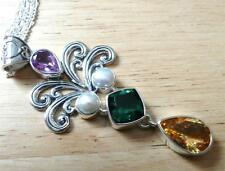 LARGE 925 SILVER AMETHYST CHROME DIOPSIDE CITRINE PEARL PENDANT NECKLACE 18INS