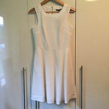 Tommy Hilfiger Nita White Fit and Flare Sleeveless Isle Pattern Day Dress UK 4