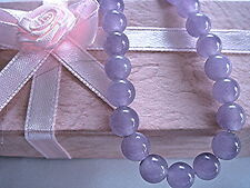 "15.5 - 16"" CHINESE LILAC PURPLE JADE 8mm BEAD NECKLACE WEDDING BIRTHDAY PARTY P4"