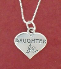 Sterling Silver Daughter Necklace Solid 925 Heart Charm Pendant n Chain jewelry