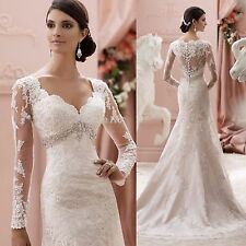 White/Ivory Lace mermaid Wedding Dress Bridal Gown Custom Size 6-8-10-12-14-16
