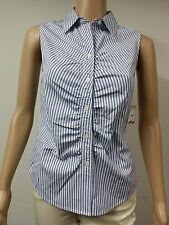 NEW FAST to AUS - Anne Klein - Sleeveless Striped Blouse Size 14 - Navy Blue $69