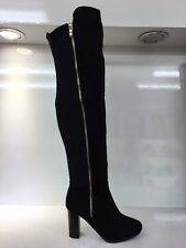 LADIES WOMENS BLACK OVER KNEE HIGH HEEL SUEDE STYLE BOOTS SHOES SIZE 5