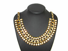 New Celebrity Gold-Tone Crystal Vintage Egyptian Style Statement Collar Necklace