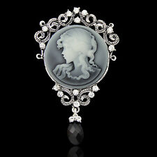STUNNING VINTAGE INSPIRED ANTIQUE SILVER LARGE STATEMENT CAMEO/RHINESTONE BROOCH